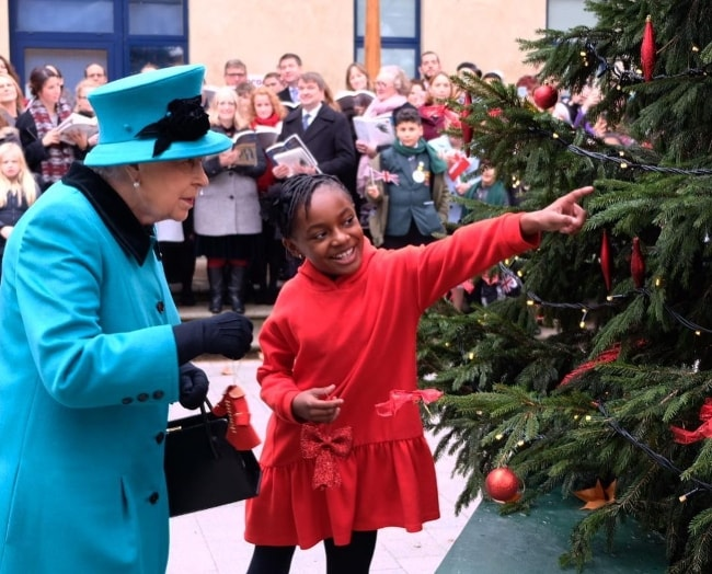 Queen Elizabeth II visiting the Coram, a children's charity, in December 2018