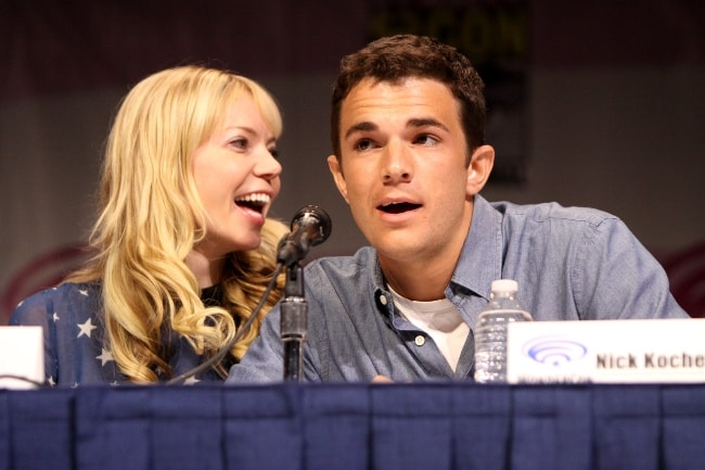 Riki Lindhome with Nick Kocher at 2013 WonderCon at the Anaheim Convention Center in Anaheim, California