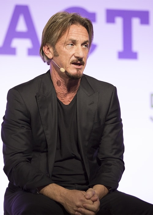 Sean Penn delivering a keynote speech at the LPAA Action Day