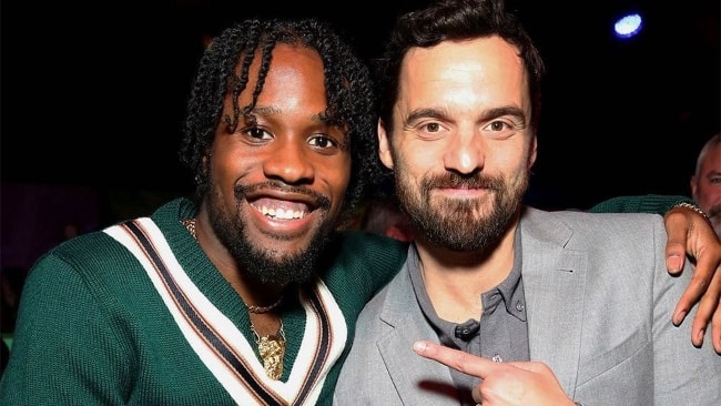 Shameik Moore (Left) with Jake Johnson in December 2018