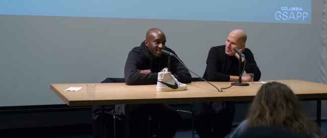 Virgil Abloh (Left) with Michael Rock at Columbia GSAPP in February 2017