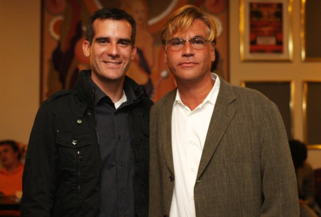 Aaron Sorkin (Right) and Eric Garcetti as seen in August 2008