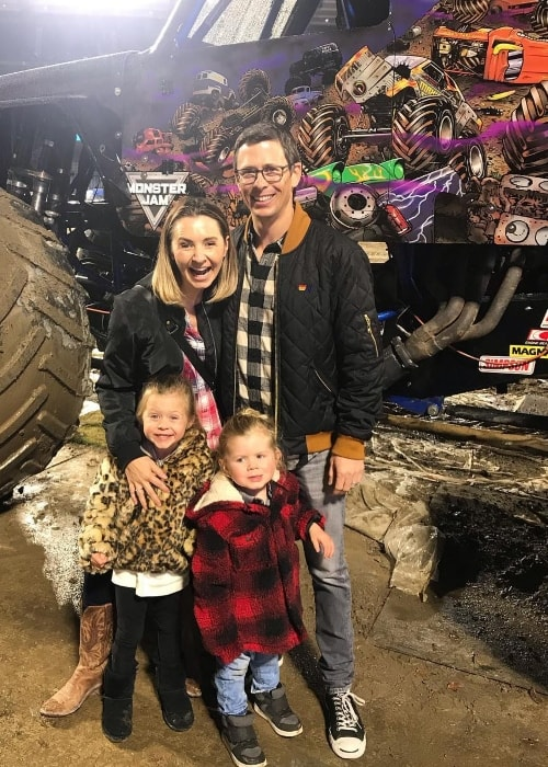 Beverley Mitchell with her family at Monster Jam in January 2019