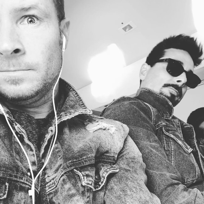 Brian Littrell in a black-and-white selfie with Kevin Richardson in November 2018