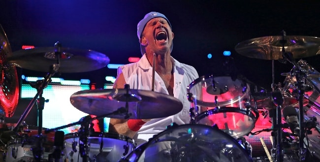 Chad Smith while performing with his band 'Red Hot Chili Peppers' in Mexico City in March 2013