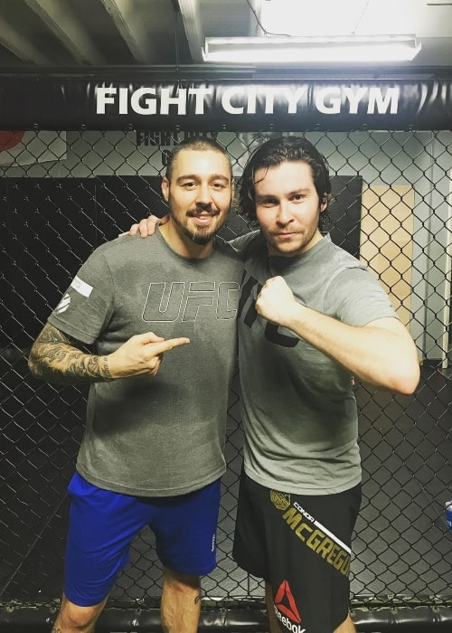 Daniel Portman (Right) with Dan Hardy at Fight City Gym
