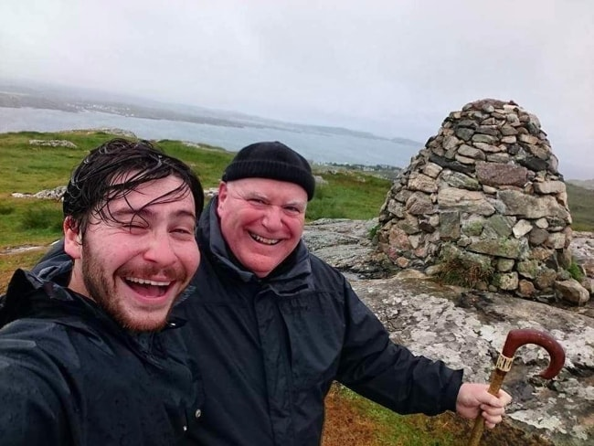 Daniel Portman in a selfie with his father in Isle of Iona, Scotland in October 2016