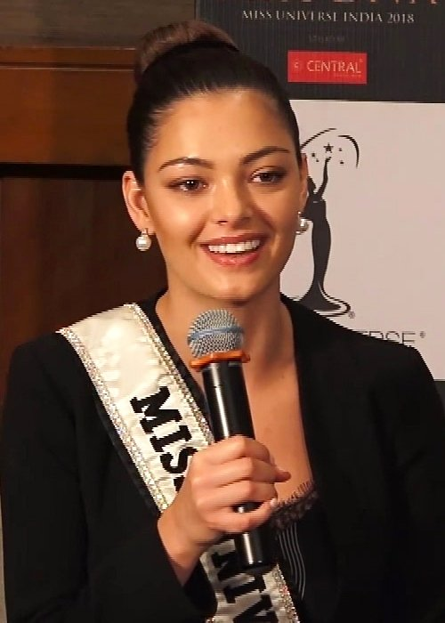 Demi-Leigh Nel-Peters at a press conference in India in September 2018