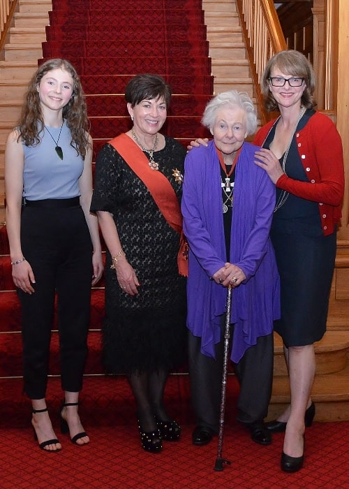 From Left to Right - Thomasin McKenzie, Dame Patsy Reddy, Dame Kate Harcourt, and Miranda Harcourt at a dinner celebrating the 125th anniversary of women's suffrage in New Zealand in August 2016