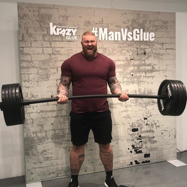 Hafþór Júlíus Björnsson posing for the Man vs Glue Challenge