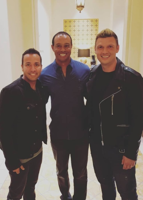 Howie Dorough with Tiger Woods (Center) and Nick Carter (Right) in Vegas in May 2018