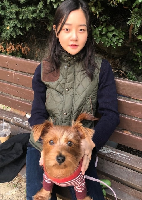 Hyoni Kang with her dog in November 2018