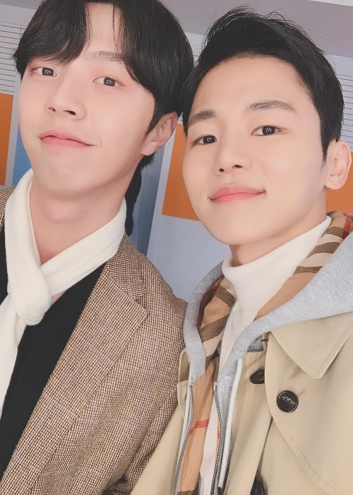 Insoo taking a selfie with JUN.Q in November 2018
