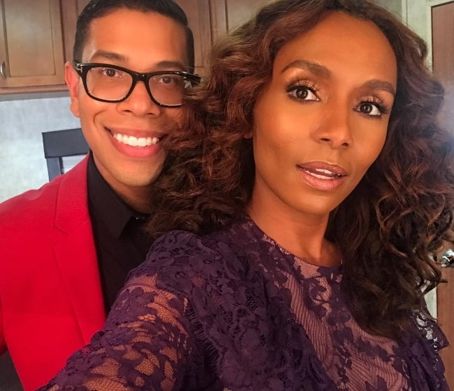 Janet Mock taking a selfie with Steven Canals in June 2018