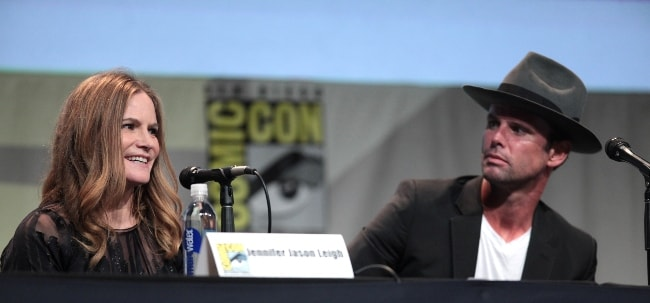 Jennifer Jason Leigh with Walton Goggins at the 2015 San Diego Comic-Con International