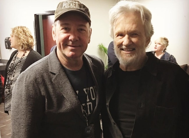 Kevin Spacey with Kris Kristofferson (Right) at Bridgestone Arena in March 2016