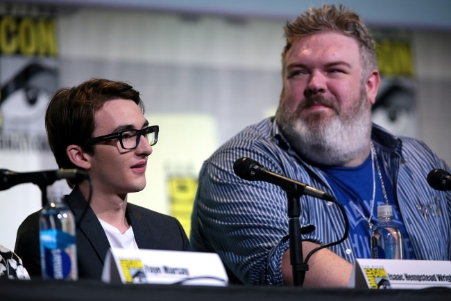 Kristian Nairn (Right) with Isaac Hempstead Wright at the 2016 San Diego Comic-Con International for 'Game of Thrones'