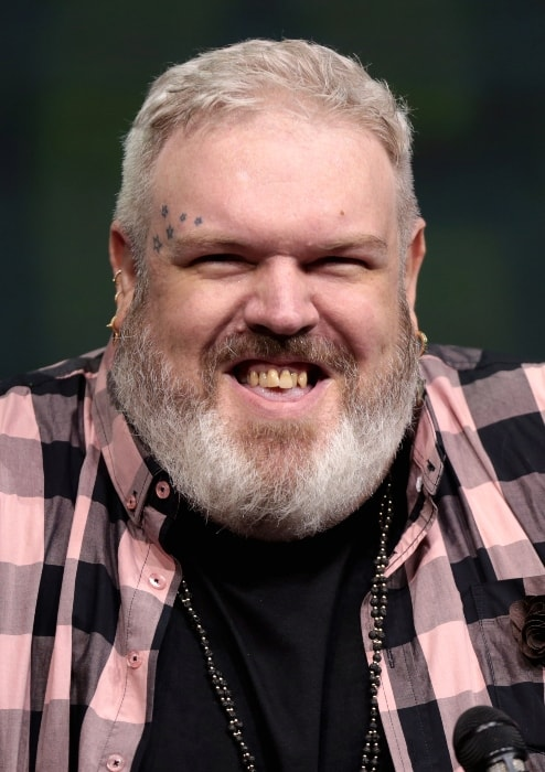 Kristian Nairn smiling during the San Diego Comic-Con International in July 2017