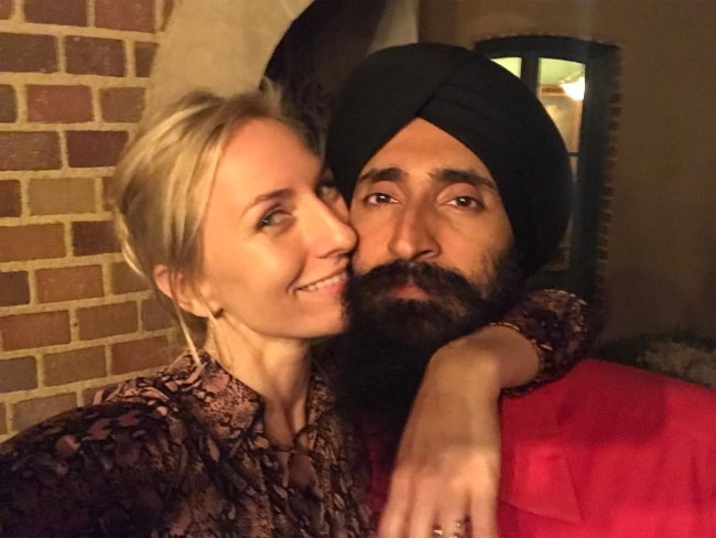 Mickey Sumner taking a selfie with Waris Ahluwalia in July 2018