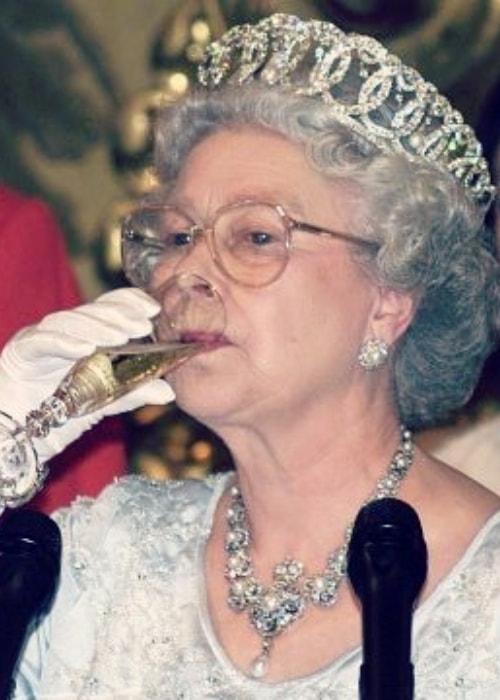 Queen Elizabeth II as seen while enjoying her drink