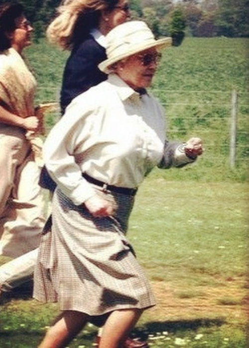 Queen Elizabeth II while running
