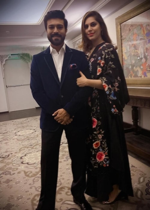 Ram Charan with Upasana Kamineni Konidela in December 2018