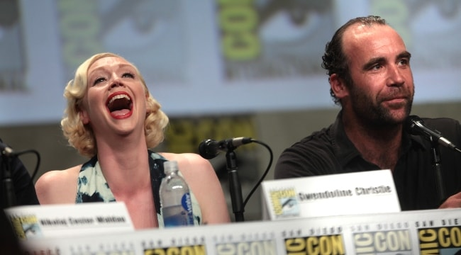 Rory McCann with Gwendoline Christie at the San Diego Comic-Con International for 'Game of Thrones' in July 2014