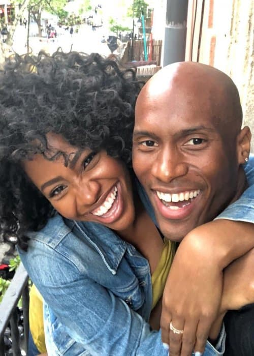 Teyonah Parris and Jamal Rashann Callender in a selfie in April 2018