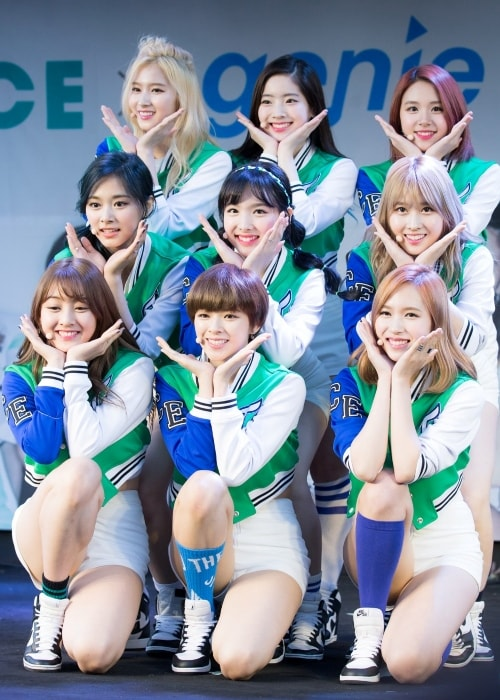 Twice posing at the Guerrilla Concert in May 2016