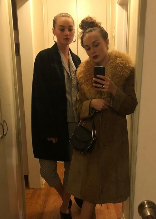 Zella Day taking a mirror selfie with Mia Rae in January 2018