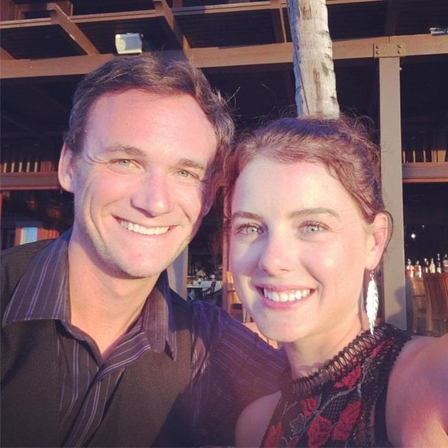 Laura Slade Wiggins with her husband Kyle Weishaar in October 2018