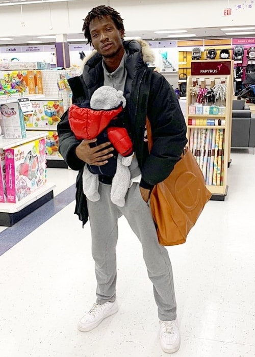 Adonis Bosso with his son in Toronto, Ontario in January 2019