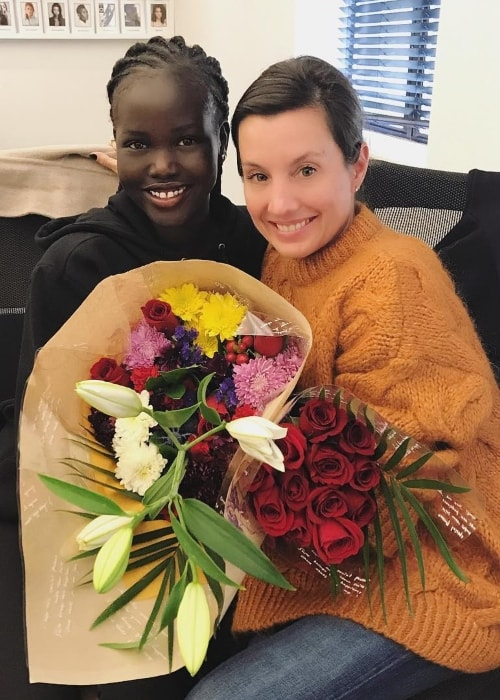Adut Akech (Left) with Cheri Bowen in October 2018