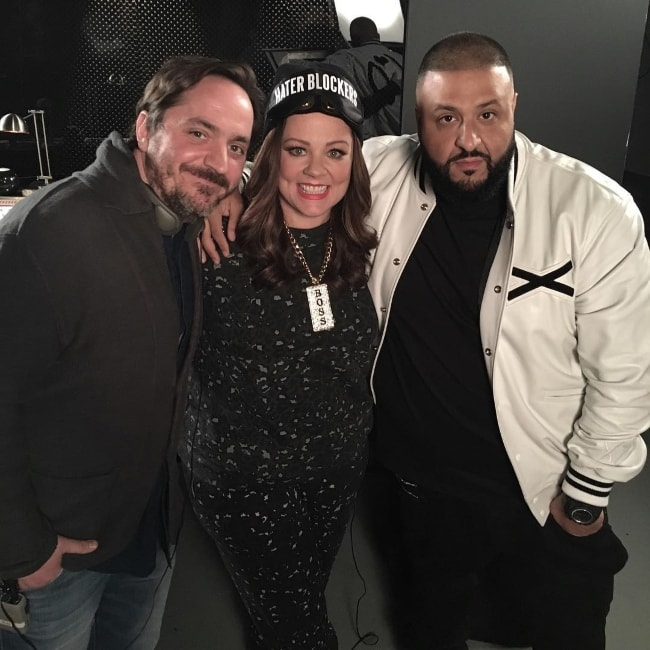 Ben Falcone with Melissa McCarthy and DJ Khaled in March 2016
