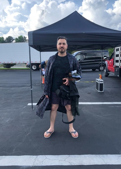 Brian Quinn on the set of the Impractical Jokers Movie in May 2018