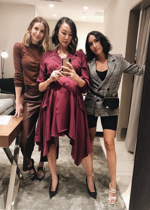 Chriselle Lim taking a mirror selfie with Whitney Port (Left) and Jen Atkin (Right) at Nordstrom Century City in September 2018