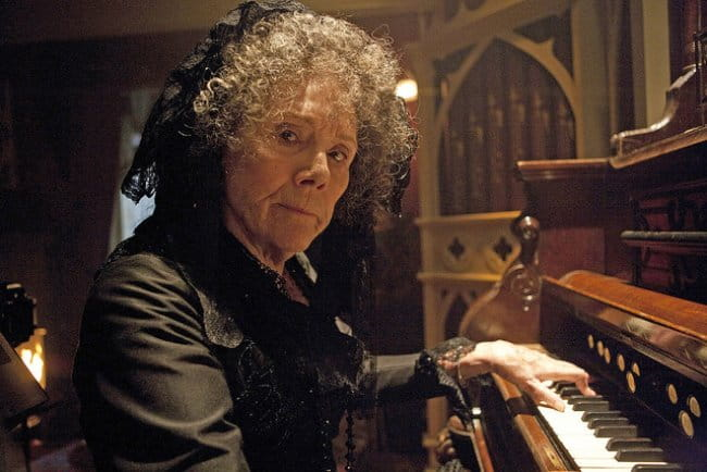 Diana Rigg in a still from The Crimson Horror horror episode of Doctor Who in 2013