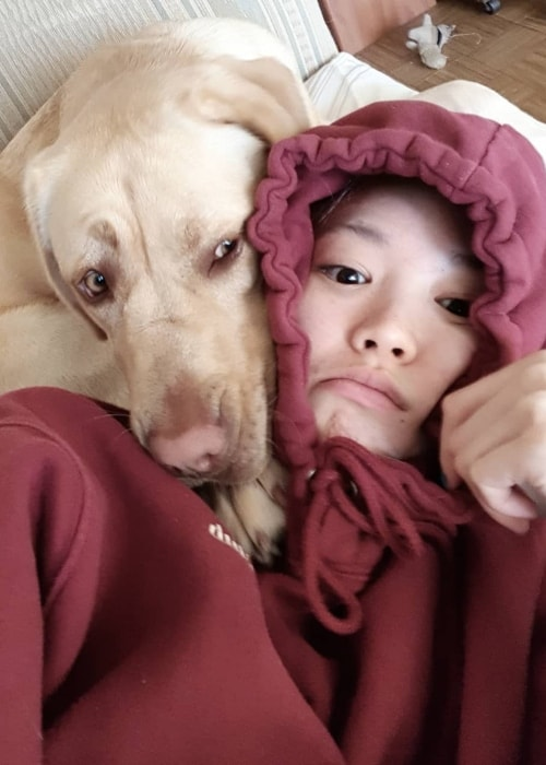Fernanda Ly in a selfie with her dog in September 2018