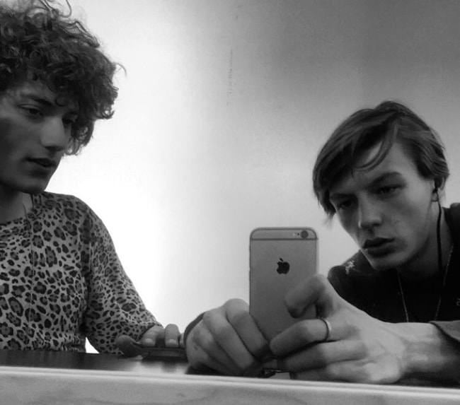 Finnlay Davis (Right) taking a mirror selfie with Serge Rigvava in June 2016