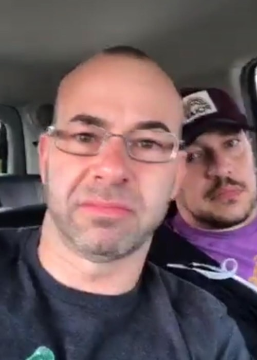 James Murray in a selfie with Sal Vulcano in April 2018