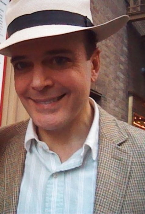 Jefferson Mays outside after a showing of The Gentleman's Guide to Love and Murder in July 2014