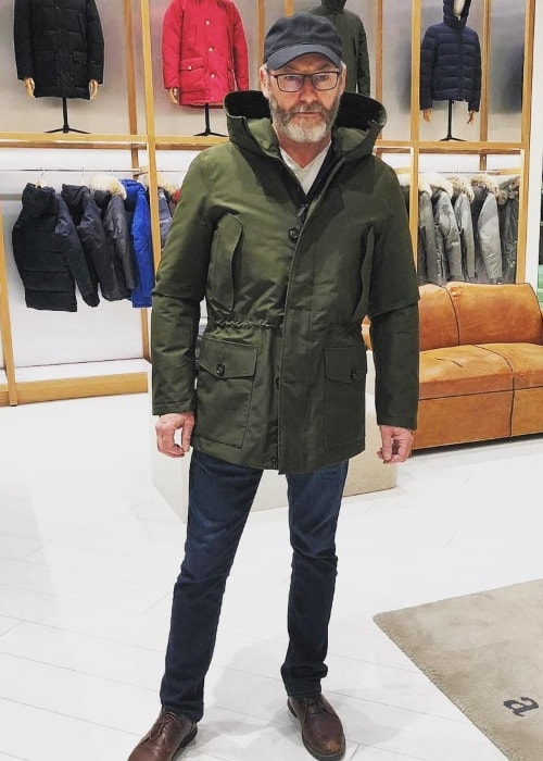 Liam Cunningham at a Woolrich store in October 2018