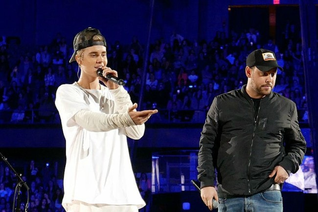 Scooter Braun as seen with Justin Bieber in Rosemont Illinois in 2015
