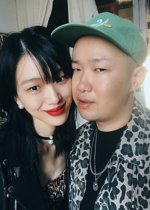 Sora Choi in a selfie with her love 이코베 in New York City New York in September 2018