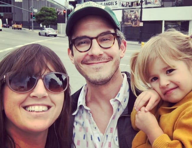 Tate Ellington in a selfie with his wife and daughter as seen in September 2017