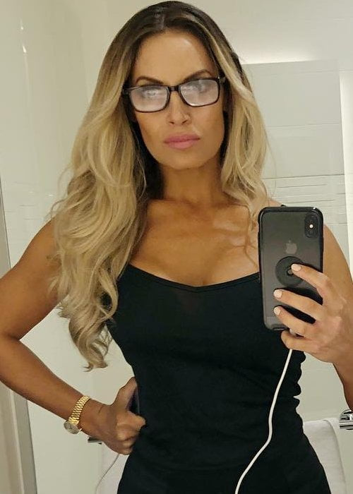 Trish Stratus in a selfie in August 2018