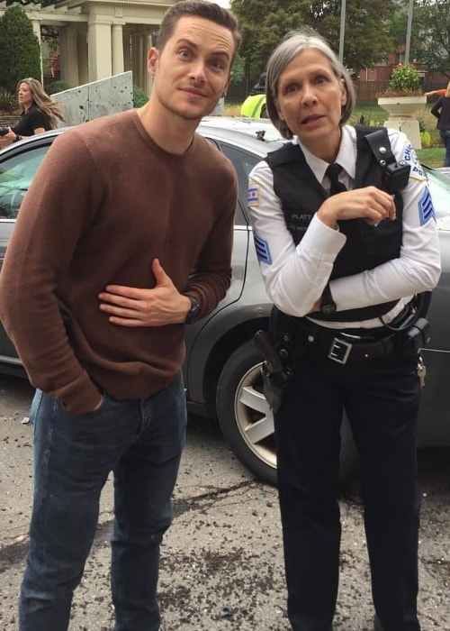 Amy Morton as seen while posing with Jesse Lee Soffer