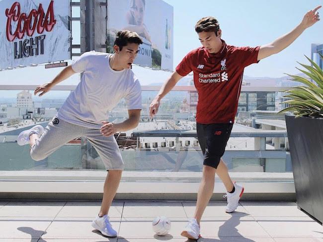 Chris Baris in a New Balance photoshoot for the new collection of the New Balance running shoes and New Balance Liverpool Jersey in June 2018