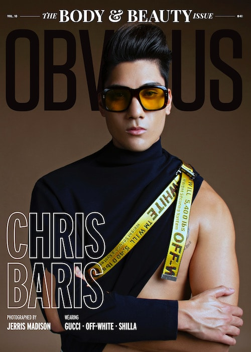 Chris Baris on the December 2018 cover of Obvious Magazine for the Body & Beauty Issue. He is the first Asian American to be featured in the magazine