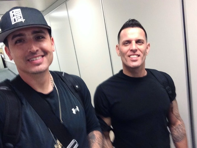 Devin Lima in a selfie with his LFO bandmate, Brad Fischetti